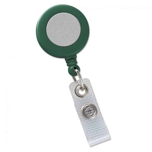 Brady Green Badge Reel with Silver Sticker, Reinforced Vinyl Strap & Belt Clip (2120-3104)