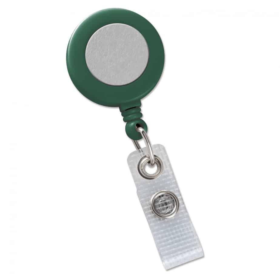 Brady Green Badge Reel with Silver Sticker, Reinforced Vinyl Strap & Belt Clip (2120-3104)