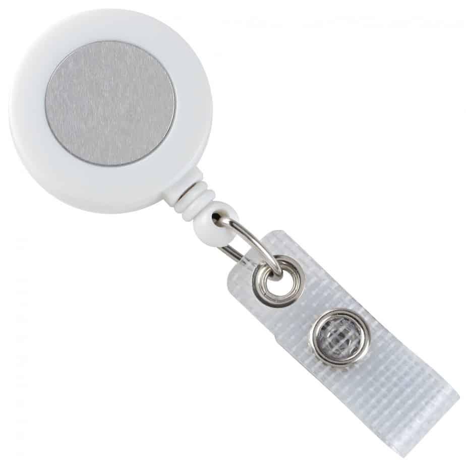 Brady White Badge Reel with Silver Sticker, Reinforced Vinyl Strap & Belt Clip (2120-3108)