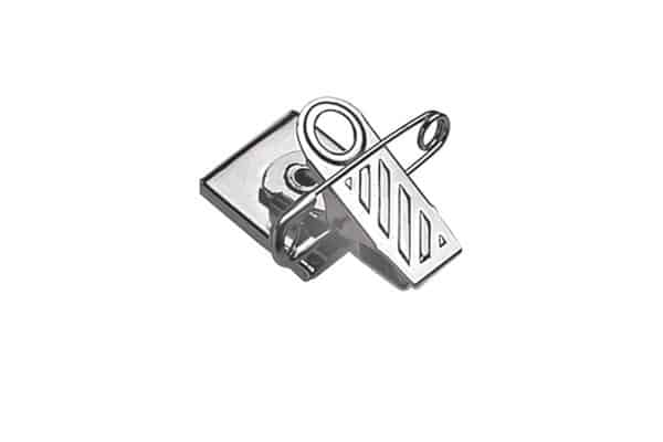 Brady Pressure-Sensitive Nickel-Plated Pin/Clip Combination, 1-Hole Ribbed-Face (5735-2050)